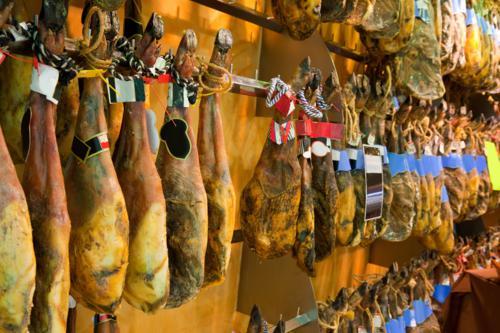 racks of cures pork legs